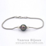 Rhodiated Sterling Silver Bracelet and 1 Tahitian Pearl Semi-Baroque B 10.2 mm
