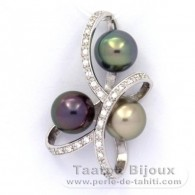 Rhodiated Sterling Silver Pendant and 3 Tahitian Pearls Round C+ (A+) from 9 to 9.1 mm