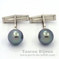 Rhodiated Sterling Silver Cufflinks and 2 Tahitian Pearls Round C 10.7 mm