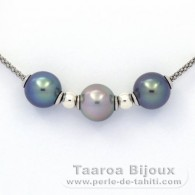 .925 Solid Silver Necklace and 3 Tahitian Pearls Round C+ from 10.2 to 10.4 mm