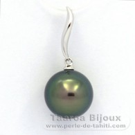 18K Solid White Gold Pendant and 1 tahitian Pearl Round B+ 11.3 mm