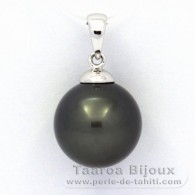 18K Solid White Gold Pendant and 1 Tahitian Pearl Round B 12.4 mm