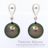 18K Solid White Gold Earrings and 2 Tahitian Pearls Round B+ 9.9 mm