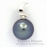 18K Solid White Gold Pendant and 1 Tahitian Pearl Round B+ 10.5 mm