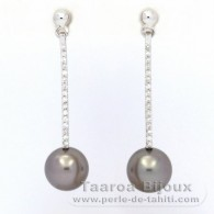 Rhodiated Sterling Silver Earrings and 2 Tahitian Pearls Round C 9 mm