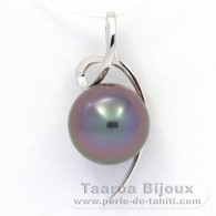 18K Solid White Gold Pendant and 1 Tahitian Pearl Round B 9.8 mm