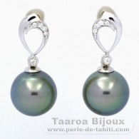 Rhodiated Sterling Silver Earrings and 2 Tahitian Pearls Round C 10.5 mm