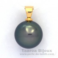 18K solid Gold Pendant and 1 Tahitian Pearl Round B 13.6 mm