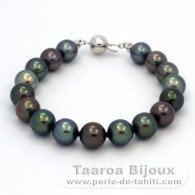 Rhodiated Sterling Silver Bracelet and 17 Tahitian Pearls Round C from 9 to 9.4 mm
