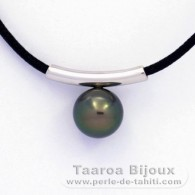 Rhodiated Sterling Silver Pendant and 1 Tahitian Pearl Round C 9.7 mm with a black cotton necklace
