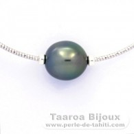 Rhodiated Sterling Silver Necklace and 1 Tahitian Pearl Semi-Baroque B 11.4 mm