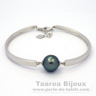 Rhodiated Sterling Silver Bracelet and 1 Tahitian Pearl Round C 11.7 mm