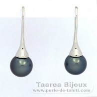 Rhodiated Sterling Silver Earrings and 2 Tahitian Pearls Round C 10.1 mm