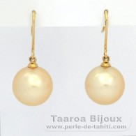 18K solid Gold Earrings and 2 Australian Pearls Round C 11.5 mm