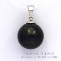Rhodiated Sterling Silver Pendant and 1 Tahitian Pearl Ringed B 12.3 mm