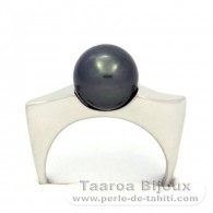 Rhodiated Sterling Silver + Rhodium Ring and 1 Tahitian Pearl Round C 9.3 mm