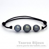 Waxed Cotton Bracelet and 3 Tahitian Pearls Round C from 10.3 to 12 mm