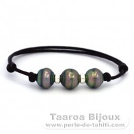 Waxed Cotton Bracelet and 3 Tahitian Pearls Ringed C from 10 to 10.3 mm