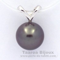 Rhodiated Sterling Silver Pendant and 1 Tahitian Pearl Round C 9.1 mm