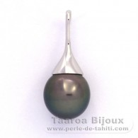 Rhodiated Sterling Silver Pendant and 1 Tahitian Pearl Semi-Baroque C 12.1 mm