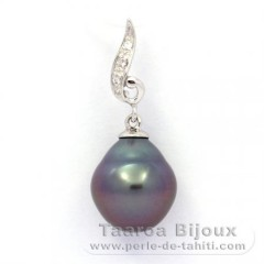 .925 Solid Silver Pendant and 1 Tahitian Pearl Semi-Baroque B 10.2 mm