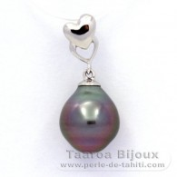 .925 Solid Silver Pendant and 1 tahitian Pearl Semi-Baroque B 9.8 mm