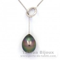 Rhodiated Sterling Silver Necklace and 1 Tahitian Pearl Semi-Baroque C 10.4 mm