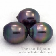 Lot of 3 Tahitian Pearls Semi-Baroque C from 10.5 to 10.9 mm