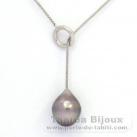 Rhodiated Sterling Silver Necklace and 1 Tahitian Pearl Semi-Baroque B 11.1 mm