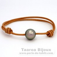 Leather Bracelet and 1 Tahitian Pearl Round C 13.2 mm