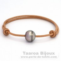 Leather Bracelet and 1 Tahitian Pearl Ringed C 12 mm
