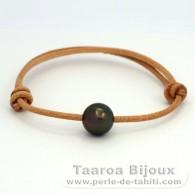 Leather Bracelet and 1 tahitian Pearl Round C 10.9 mm