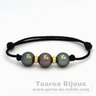 Waxed Cotton Bracelet and 3 Tahitian Pearls Round C from 10.3 to 10.5 mm