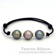 Waxed Cotton Bracelet and 3 Tahitian Pearls Round C+ from 10.6 to 10.7 mm