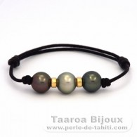 Waxed Cotton Bracelet and 3 Tahitian Pearls Semi-Round C from 10 to 10.3 mm