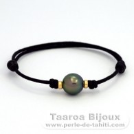 Waxed Cotton Bracelet and 1 Tahitian Pearl Semi-Round B 10.2 mm