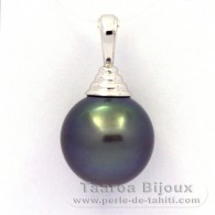 Rhodiated Sterling Silver Pendant and 1 Tahitian Pearl Semi-Round C 12.7 mm