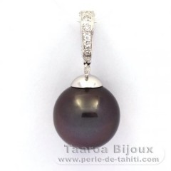 Rhodiated Sterling Silver Pendant and 1 Tahitian Pearl Near-Round C 14.5 mm