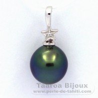 Rhodiated Sterling Silver Pendant and 1 Tahitian Pearl Semi-Baroque C 10.4 mm