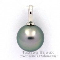 Rhodiated Sterling Silver Pendant and 1 Tahitian Pearl Round C 13.8 mm