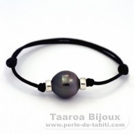 Waxed Cotton Bracelet and 1 Tahitian Pearl Ringed C 13.4 mm
