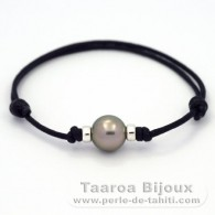 Waxed Cotton Bracelet and 1 Tahitian Pearl Round C 10.6 mm