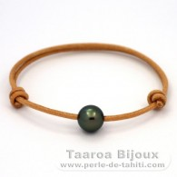 Leather Bracelet and 1 Tahitian Pearl Round C 10.5 mm