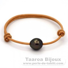 Leather Bracelet and 1 Tahitian Pearl Semi-Baroque C 11.4 mm