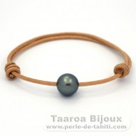 Leather Bracelet and 1 tahitian Pearl Round C 11.9 mm