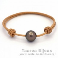 Leather Bracelet and 1 Tahitian Pearl Round C 12.4 mm