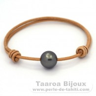 Leather Bracelet and 1 Tahitian Pearl Round C 12 mm