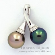 Rhodiated Sterling Silver Pendant and 2 Tahitian Pearls Round C+ 10.1 and 10.2 mm