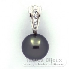 .925 Solid Silver Pendant and 1 Tahitian Pearl Round C 12.6 mm