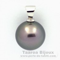 .925 Solid Silver Pendant and 1 tahitian Pearl Round C 13.6 mm